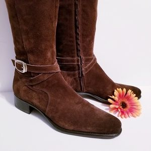 Santoni, Made in Italy Brown Suede Knee-High Boots